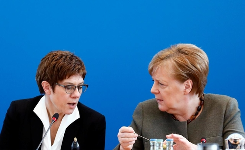 CDU leader Annegret Kramp-Karrenbauer and Chancellor Angela Merkel at today's CDU meeting.