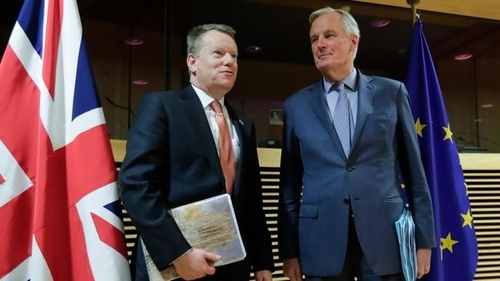 David Frost, the UK's chief negotiator, and Michel Barnier, the EU's chief negotiator, at the EU today.