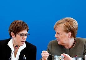 CDU leader Annegret Kramp-Karrenbauer and Chancellor Angela Merkel at today's CDU meeting.