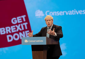 Prime Minister Boris Johnson speaking at the Conservative party conference yesterday.