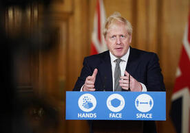 British Prime Minister Boris Johnson announcing the UK's new lockdown Saturday evening.