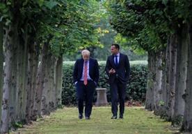 British Prime Minister Boris Johnson and Irish Taoiseach Leo Varadkar discussing the backstop at Wirral last Thursday.