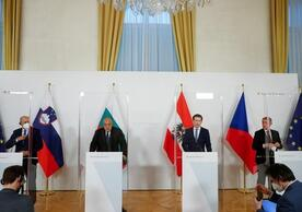 Austrian Chancellor Sebastian Kurz (third from left) and the leaders of Bulgaria, the Czech Republic and Slovenia in Vienna on March 16.