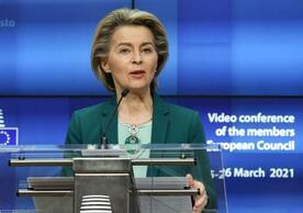 European Commission President Ursula von der Leyen addressing the press after last Thursday's European Council meeting.